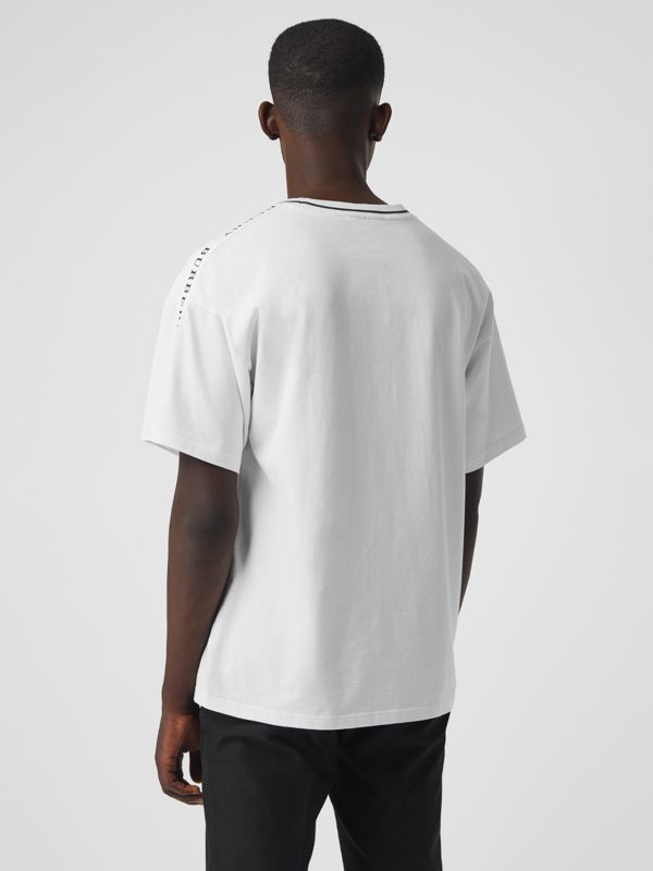 Tape Detail Cotton T-shirt in White - Men | Burberry - cell image 2