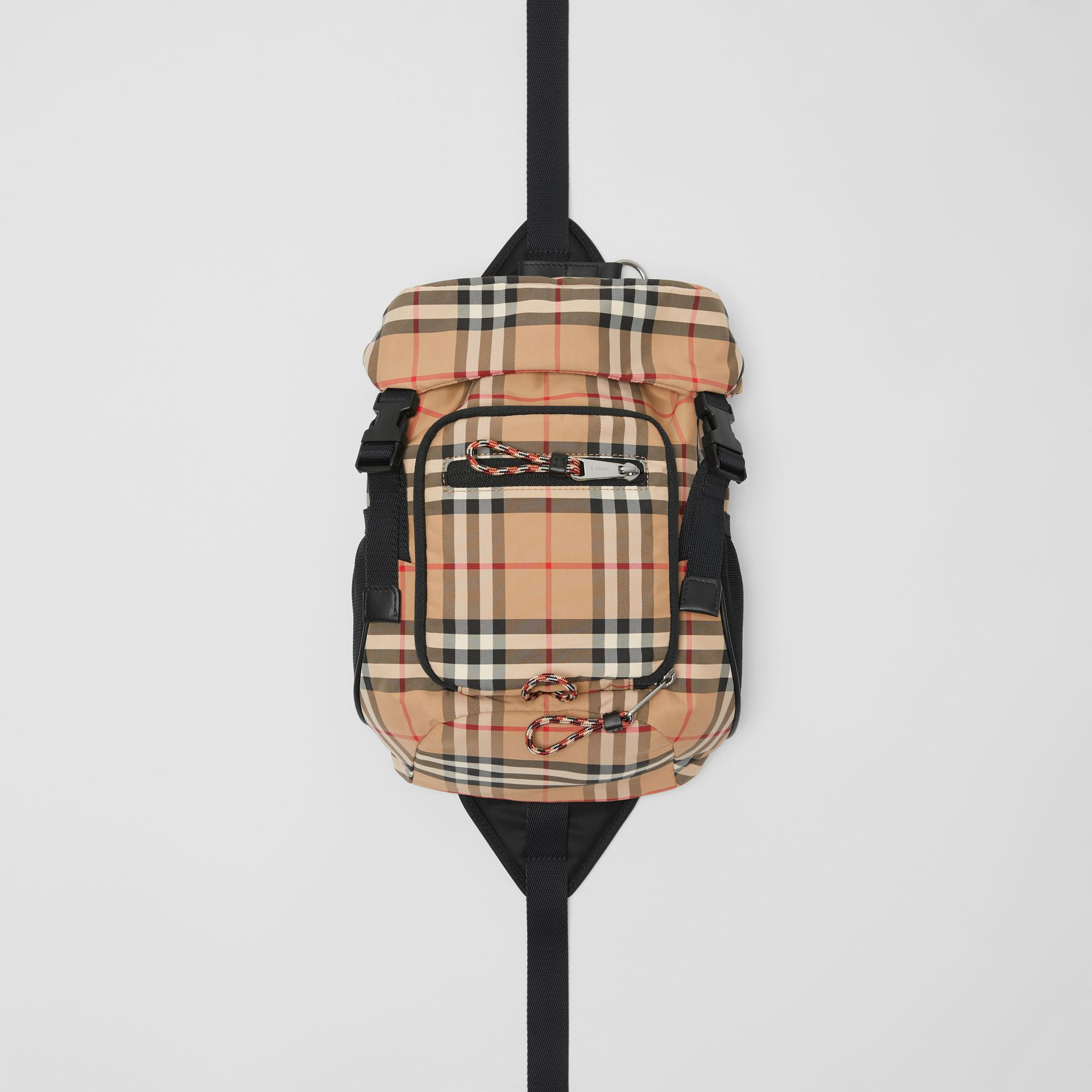 Vintage Check Nylon Leo Belt Pack in Archive Beige | Burberry - gallery image 0