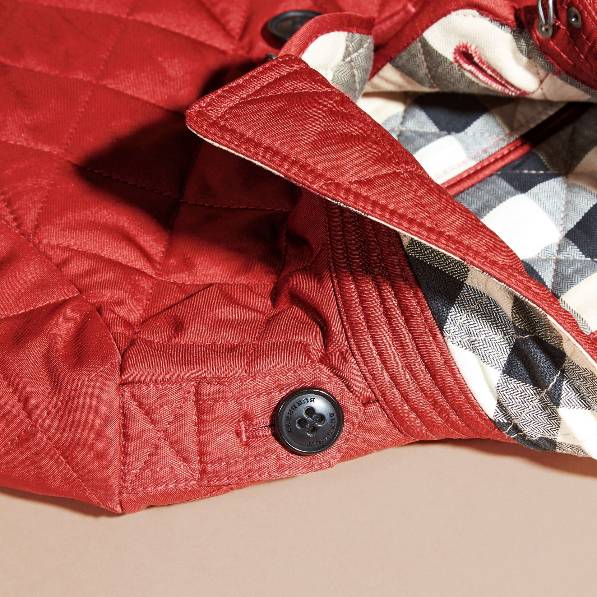 Check Lined Diamond Quilted Jacket in Parade Red | Burberry - gallery image 1