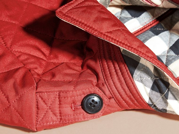Check Lined Diamond Quilted Jacket in Parade Red - Girl | Burberry - cell image 1