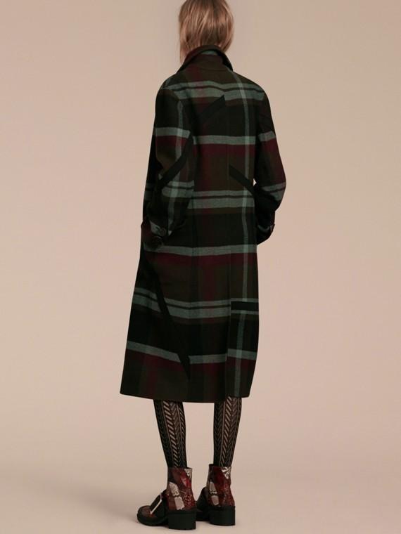 Vert militaire Manteau non doublé à double boutonnage en laine tartan - cell image 2