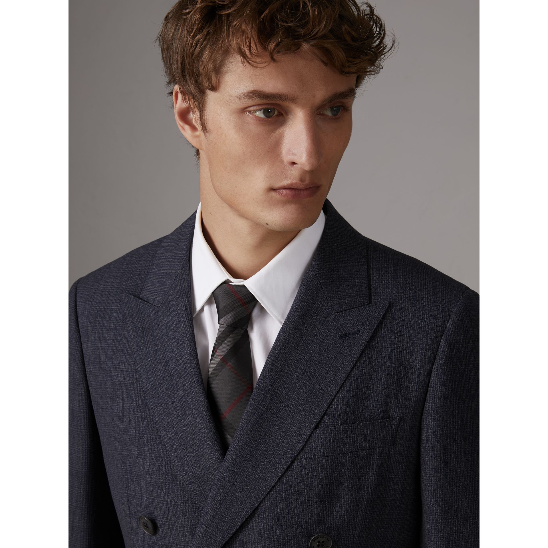 Modern Cut Check Silk Twill Tie in Charcoal - Men | Burberry - gallery image 2