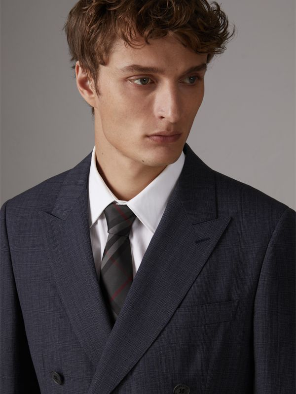 Modern Cut Check Silk Twill Tie in Charcoal - Men | Burberry - cell image 2