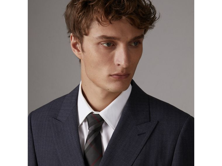 Modern Cut Check Silk Twill Tie in Charcoal - Men | Burberry United States - cell image 2