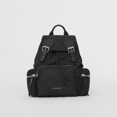 The Medium Rucksack In Technical Nylon And Leather Black Women Burberry United States