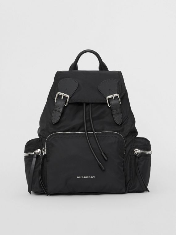 The Medium Rucksack in Technical Nylon and Leather in Black/black