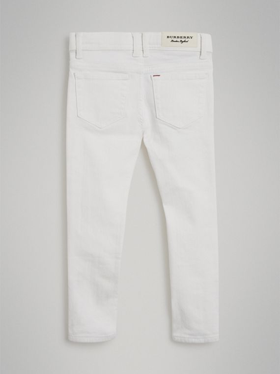 Skinny Fit Stretch Jeans in White - Girl | Burberry - cell image 3