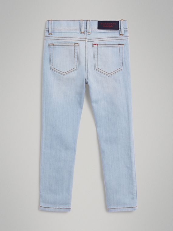 Skinny Fit Stretch Jeans in Light Blue - Girl | Burberry Australia - cell image 3