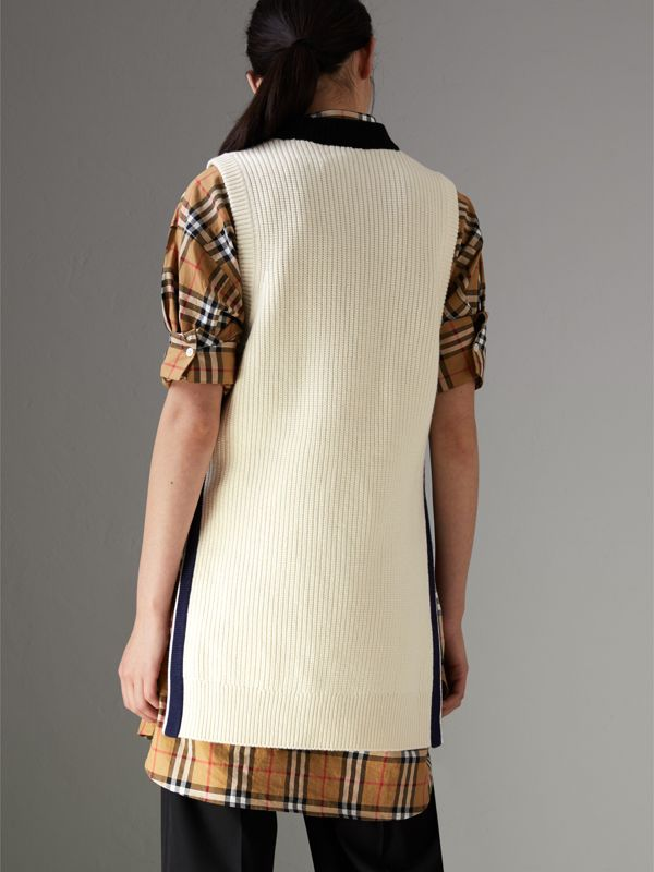 Rib Knit Wool Cashmere Vest in Natural White - Women | Burberry Singapore - cell image 2