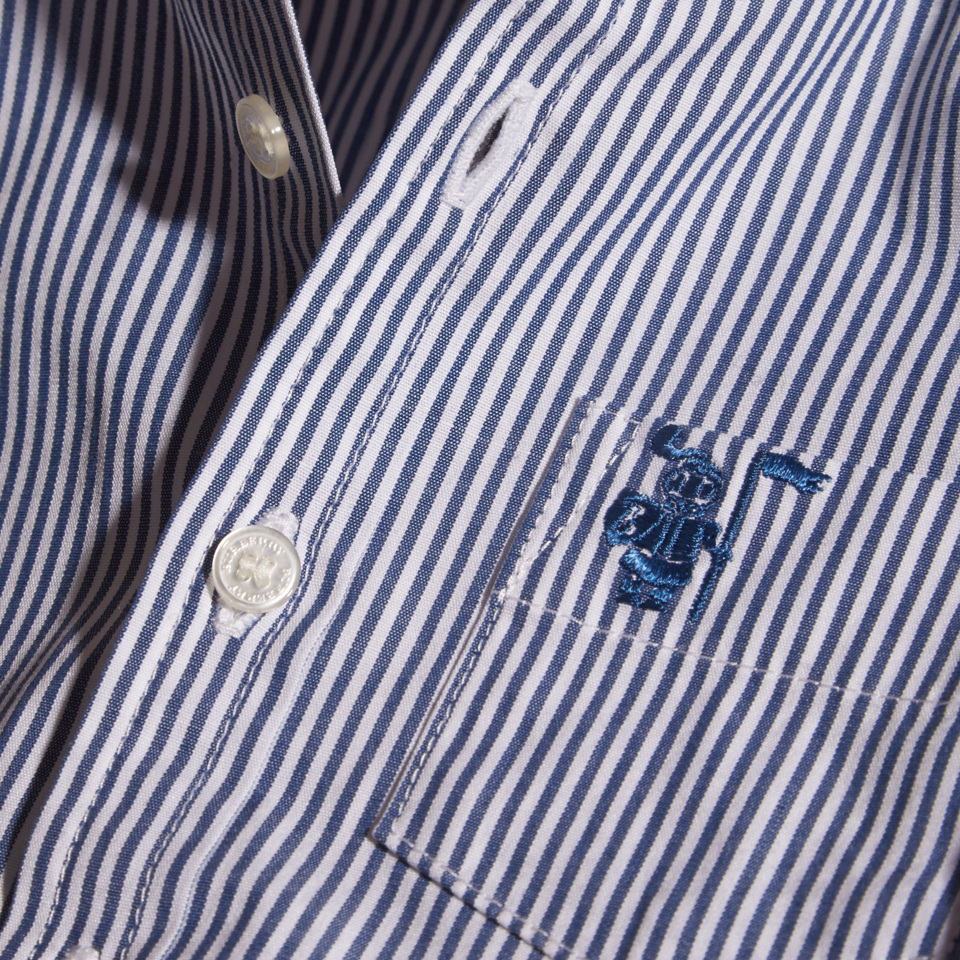 Marine blue Button-Down Collar Striped Stretch Cotton Shirt - gallery image 2