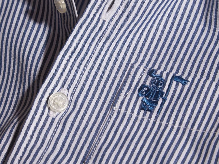Marine blue Button-Down Collar Striped Stretch Cotton Shirt - cell image 1