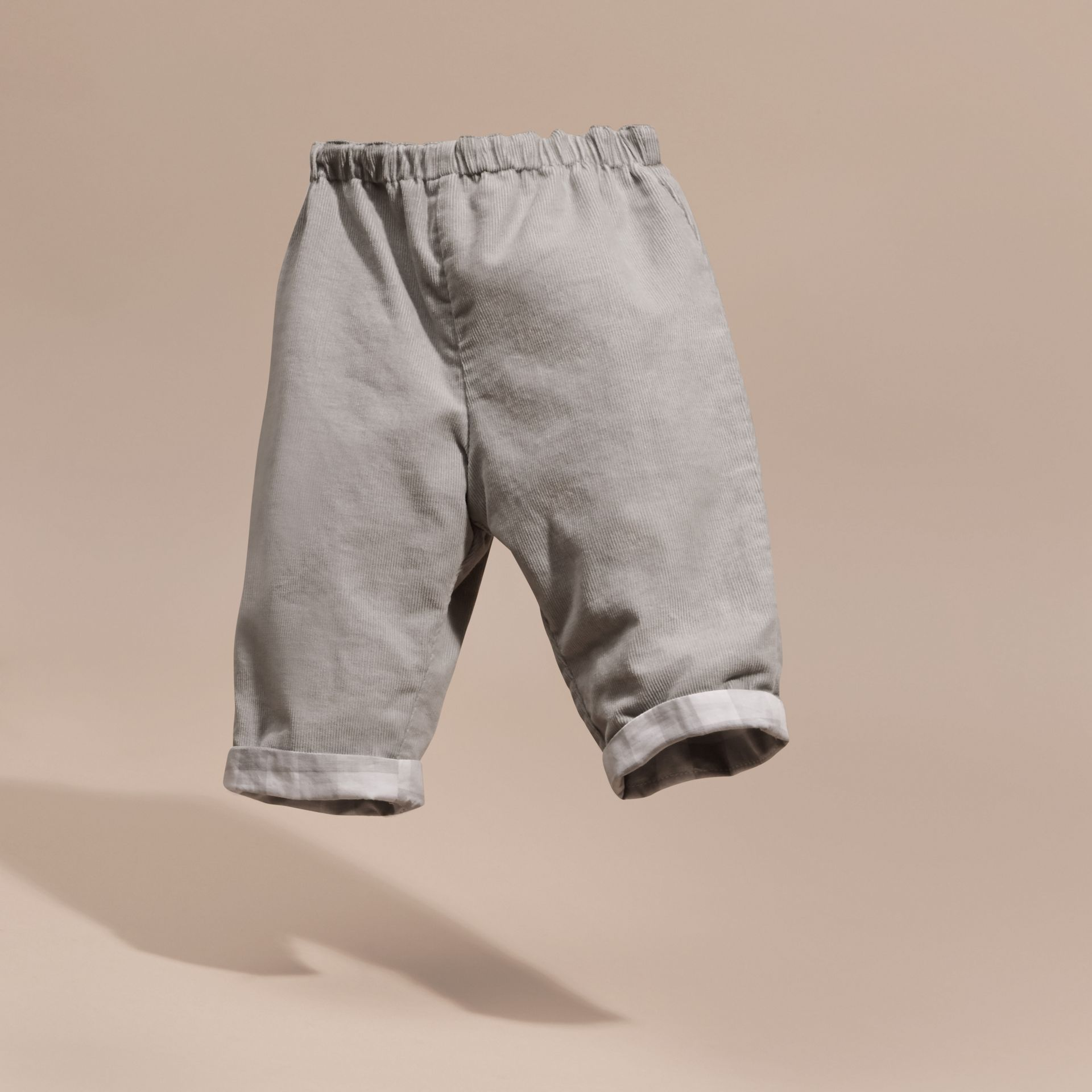 Mid grey Check Turn-Up Cotton Trousers - gallery image 3