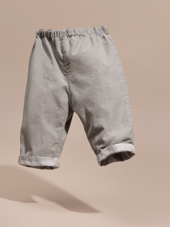 Mid grey Check Turn-Up Cotton Trousers - cell image 2