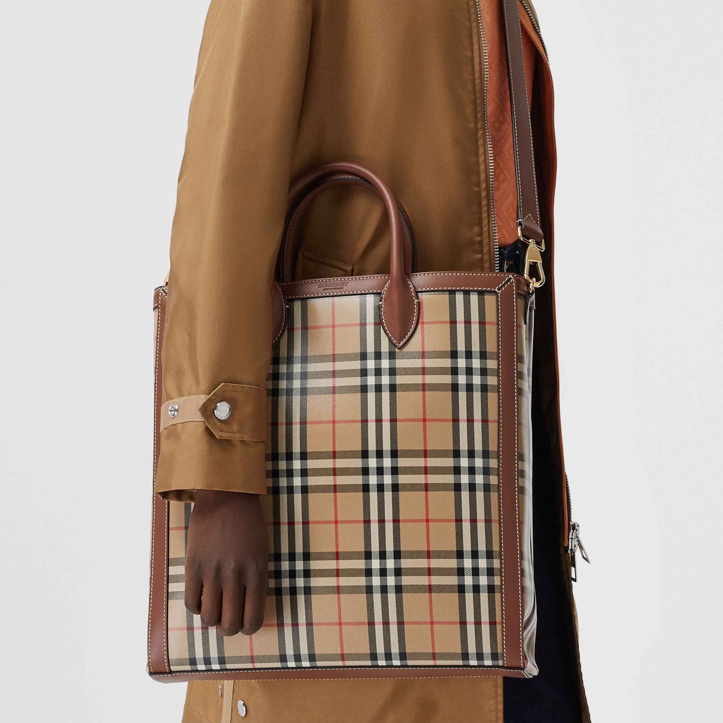 Medium Vintage Check Coated Canvas Tote in Archive Beige - Men | Burberry Singapore - 3