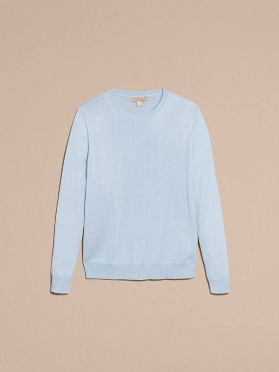 Pale cornflower blue Check Detail Merino Crew Neck Sweater Pale Cornflower Blue - cell image 3