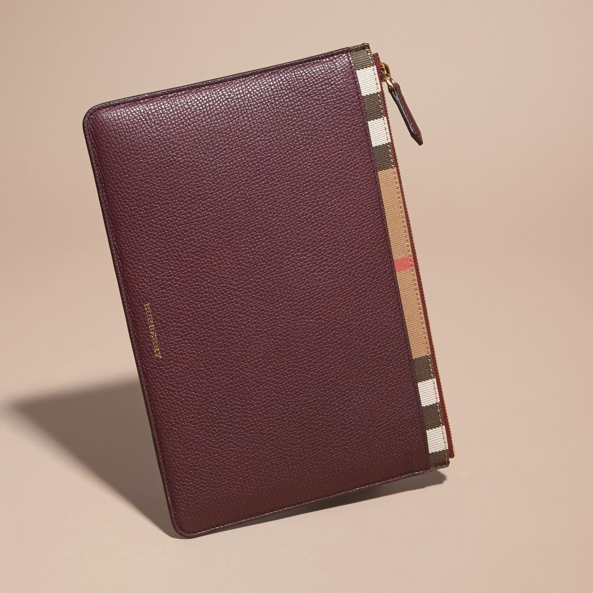 Zipped Grainy Leather and House Check Pouch Wine - gallery image 4
