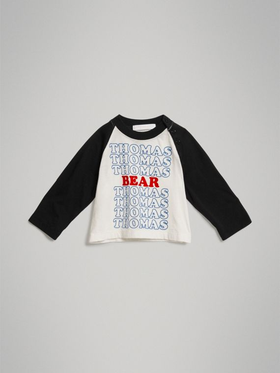Thomas Bear Raglan-sleeve Cotton Top in White