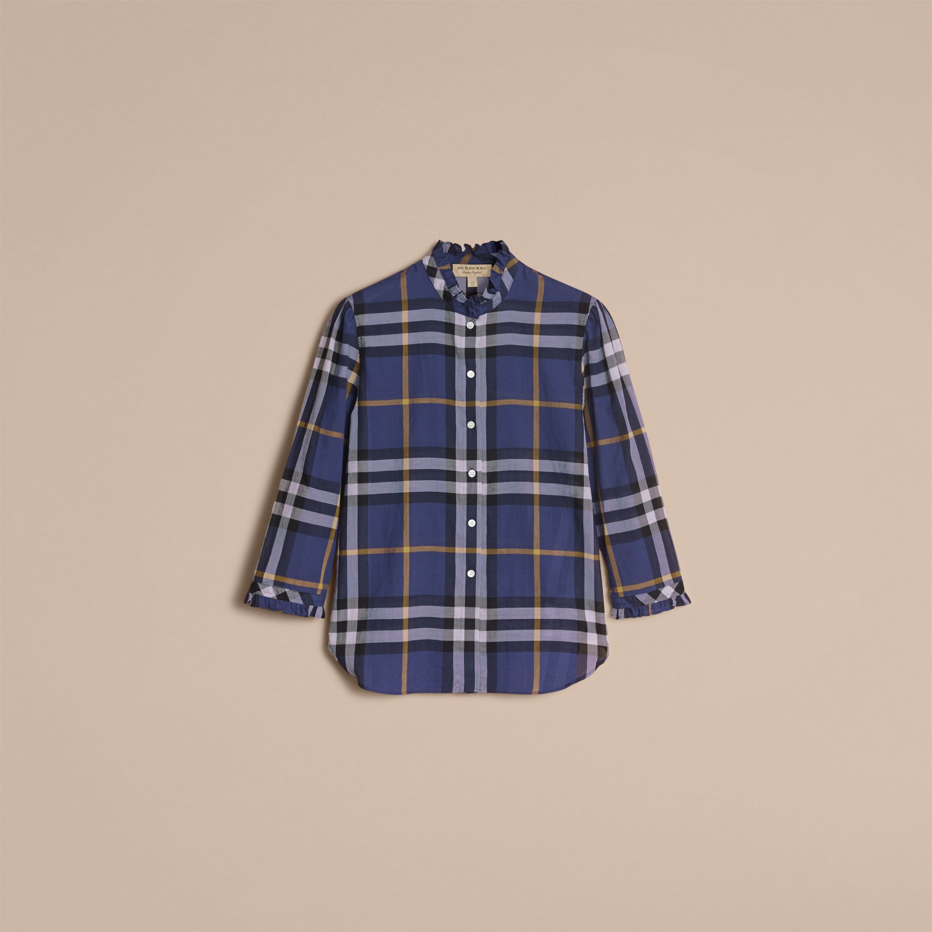 Ruffle Detail Check Cotton Shirt in Lapis Blue - Women | Burberry Australia - gallery image 4