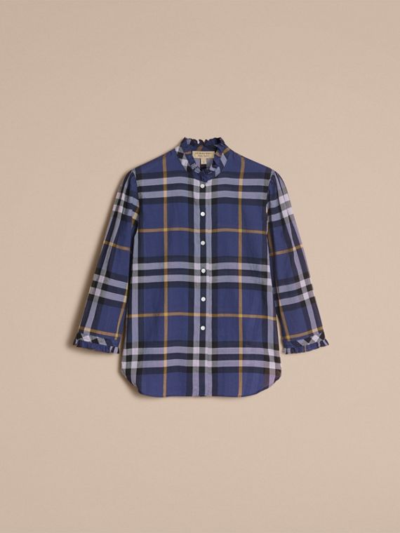 Ruffle Detail Check Cotton Shirt in Lapis Blue - Women | Burberry - cell image 3
