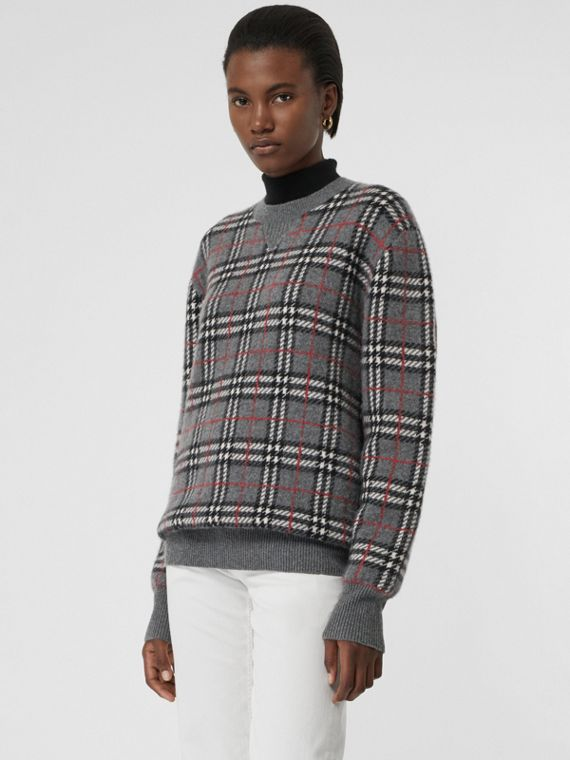 Check Cashmere Jacquard Sweater in Mid Grey Melange