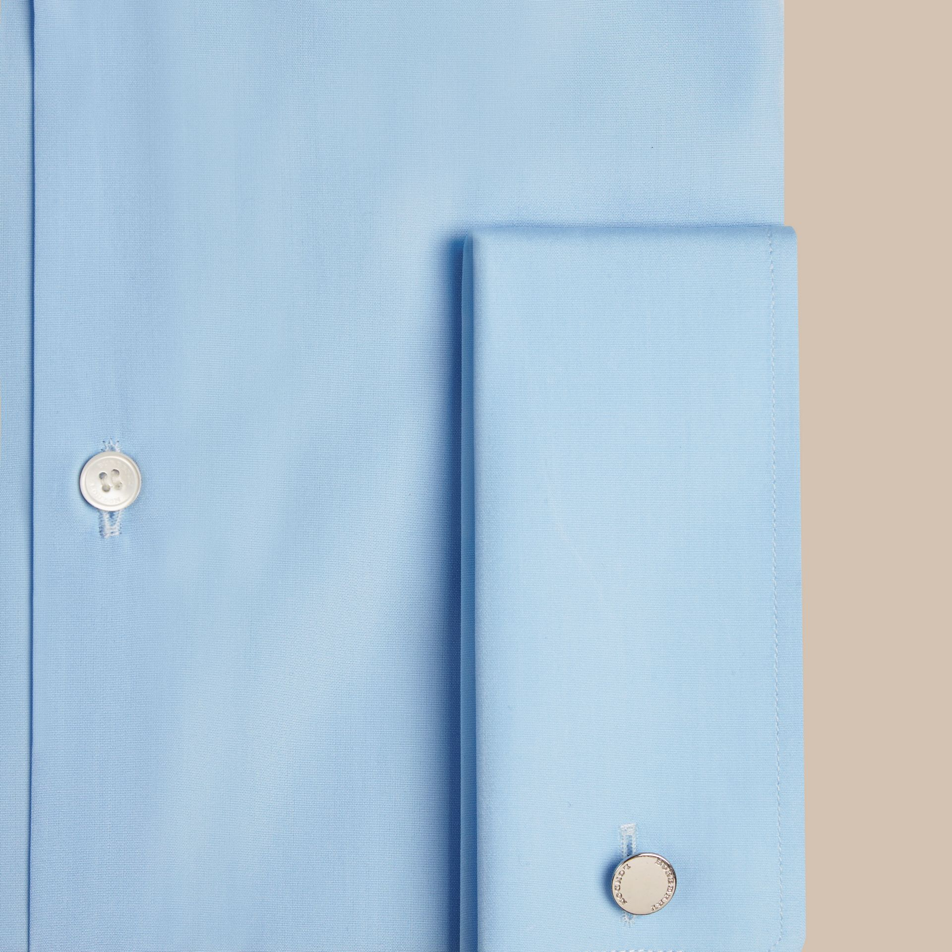 City blue Modern Fit Double-cuff Cotton Poplin Shirt City Blue - gallery image 2