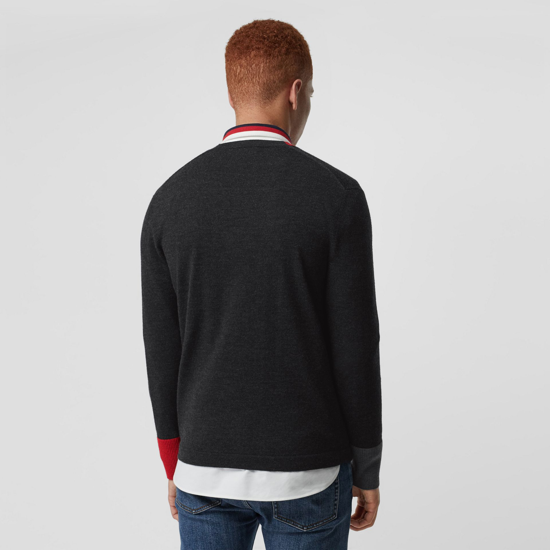 Embroidered Logo Merino Wool V-neck Sweater in Charcoal - Men | Burberry Singapore - gallery image 2