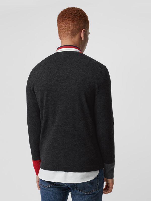 Embroidered Logo Merino Wool V-neck Sweater in Charcoal - Men | Burberry - cell image 2
