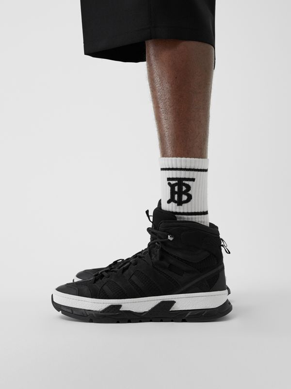 Mesh and Nubuck Union High-top Sneakers in Black - Men | Burberry United Kingdom - cell image 2