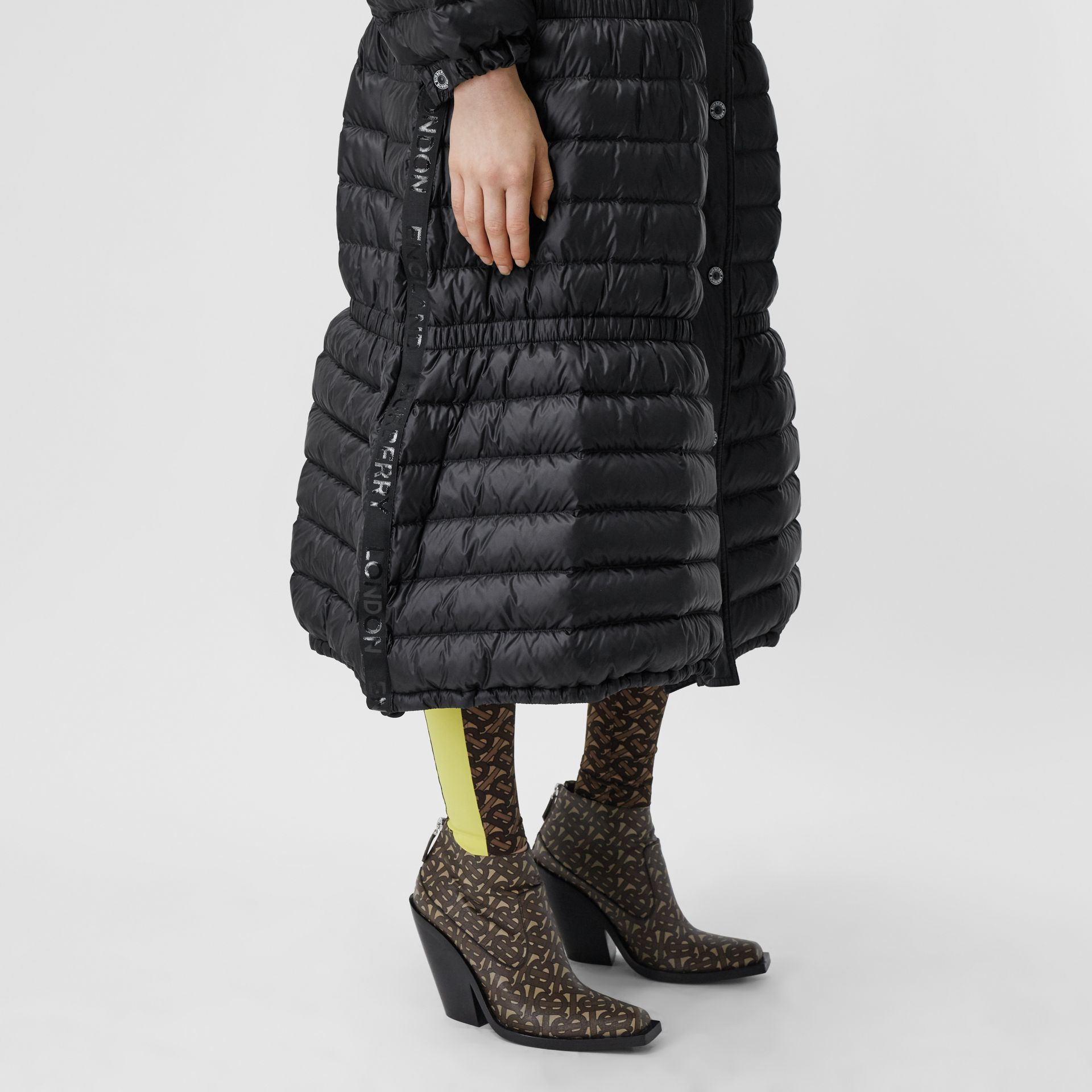 Logo Tape Lightweight Hooded Puffer Coat in Black - Women | Burberry United Kingdom - gallery image 4