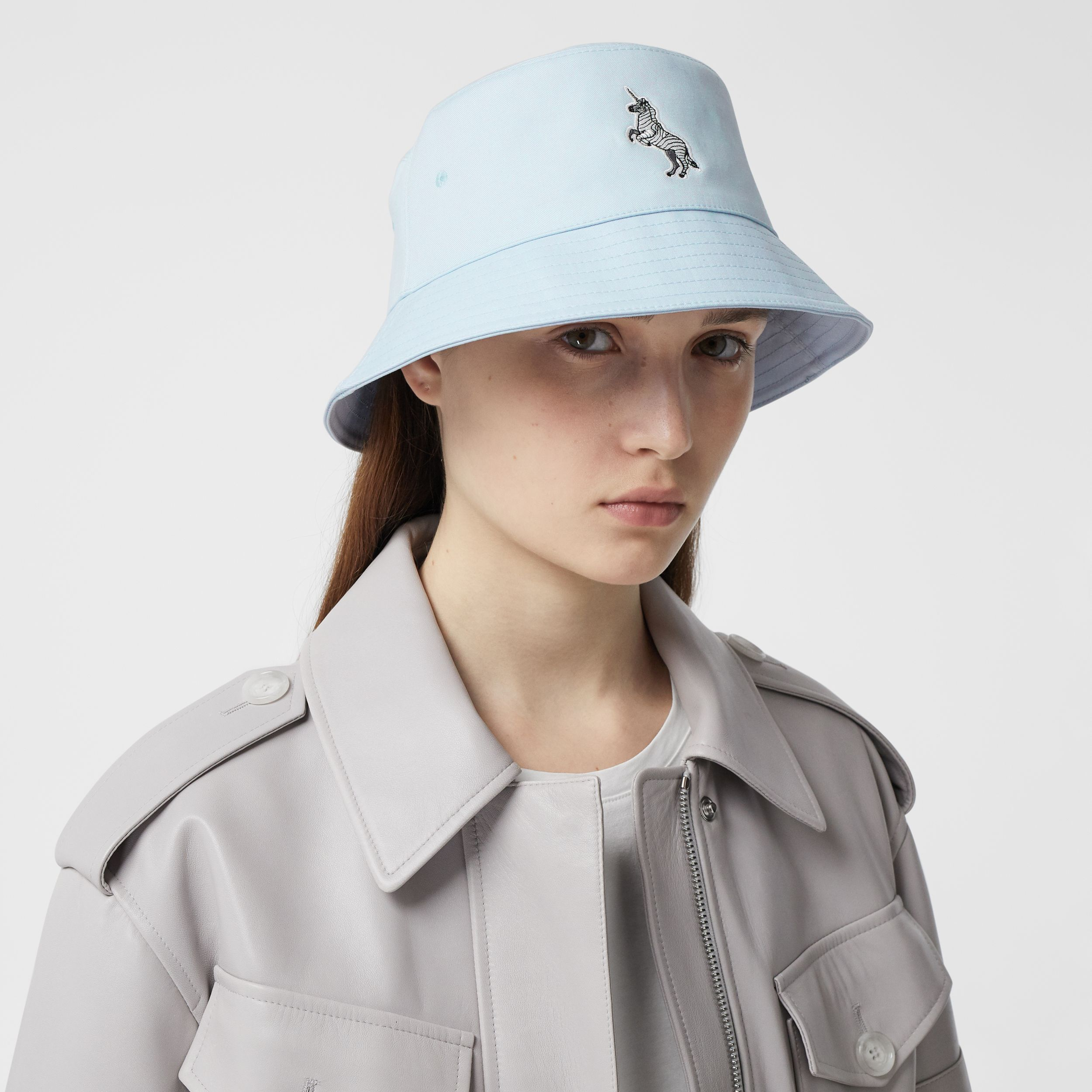Zebra Appliqué Cotton Twill Bucket Hat in Pale Blue | Burberry - 3