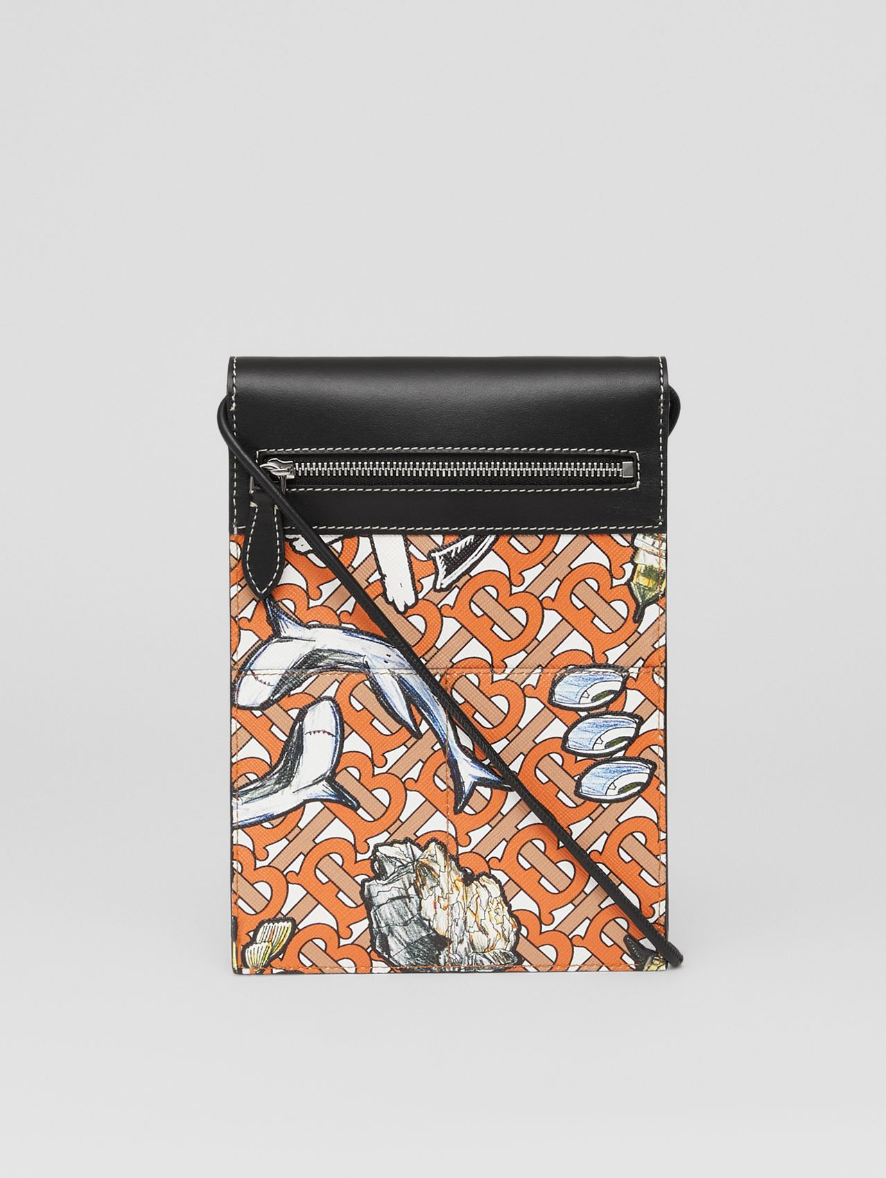 Monogram and Marine Print Pocket Phone Case in Orange