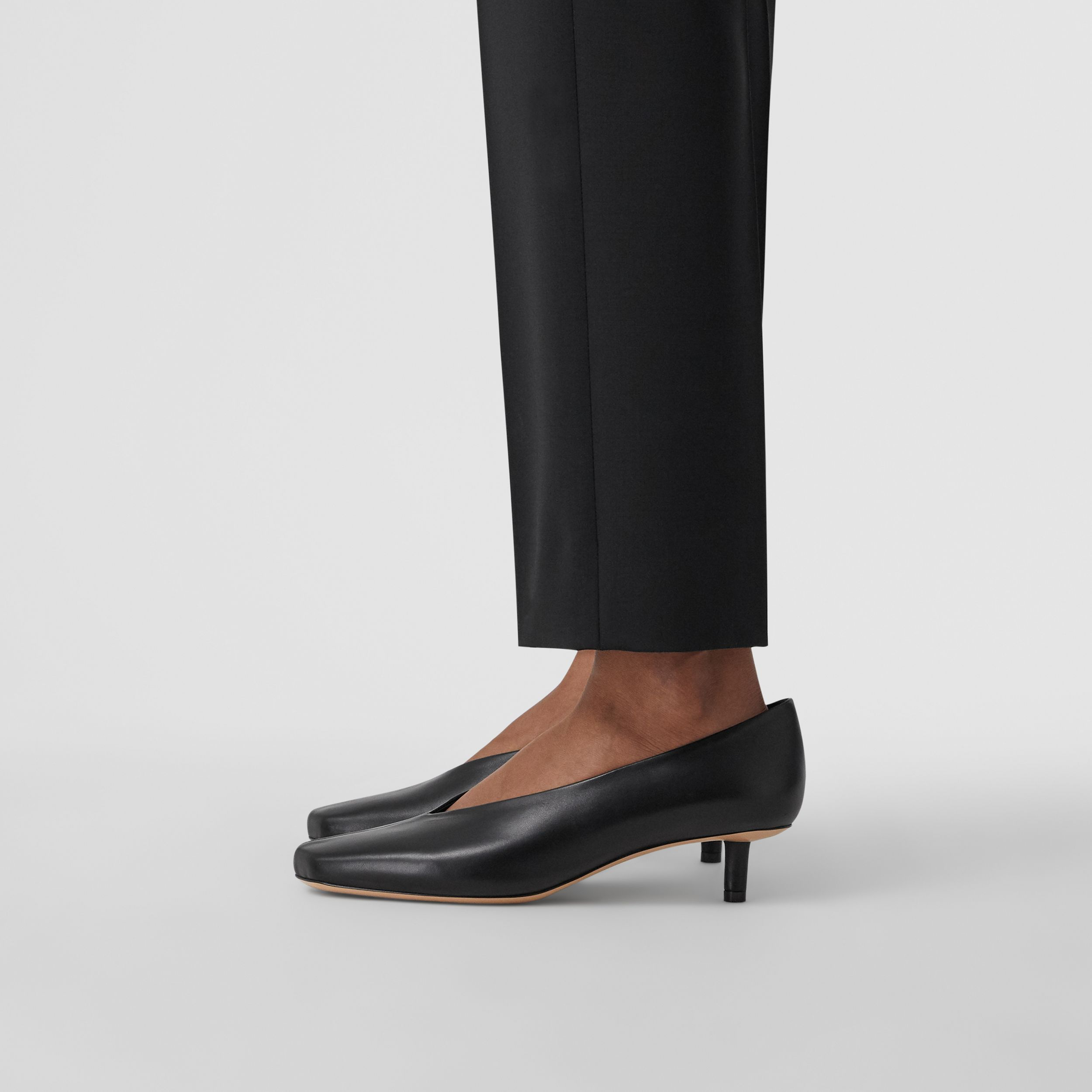 Lambskin Sculptural Kitten-heel Pumps in Black - Women | Burberry - 3