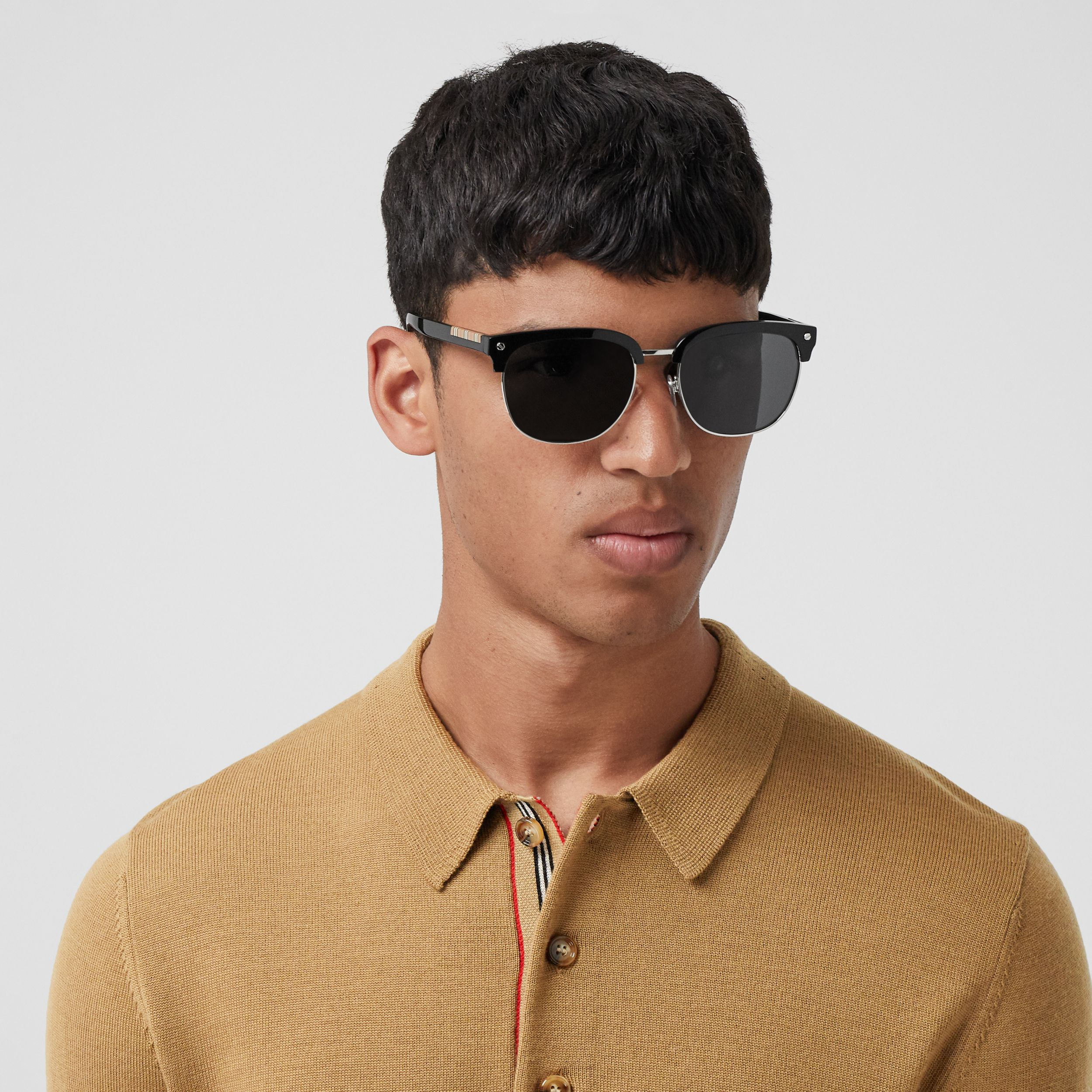 Long-sleeve Icon Stripe Detail Merino Wool Polo Shirt in Camel - Men | Burberry - 2
