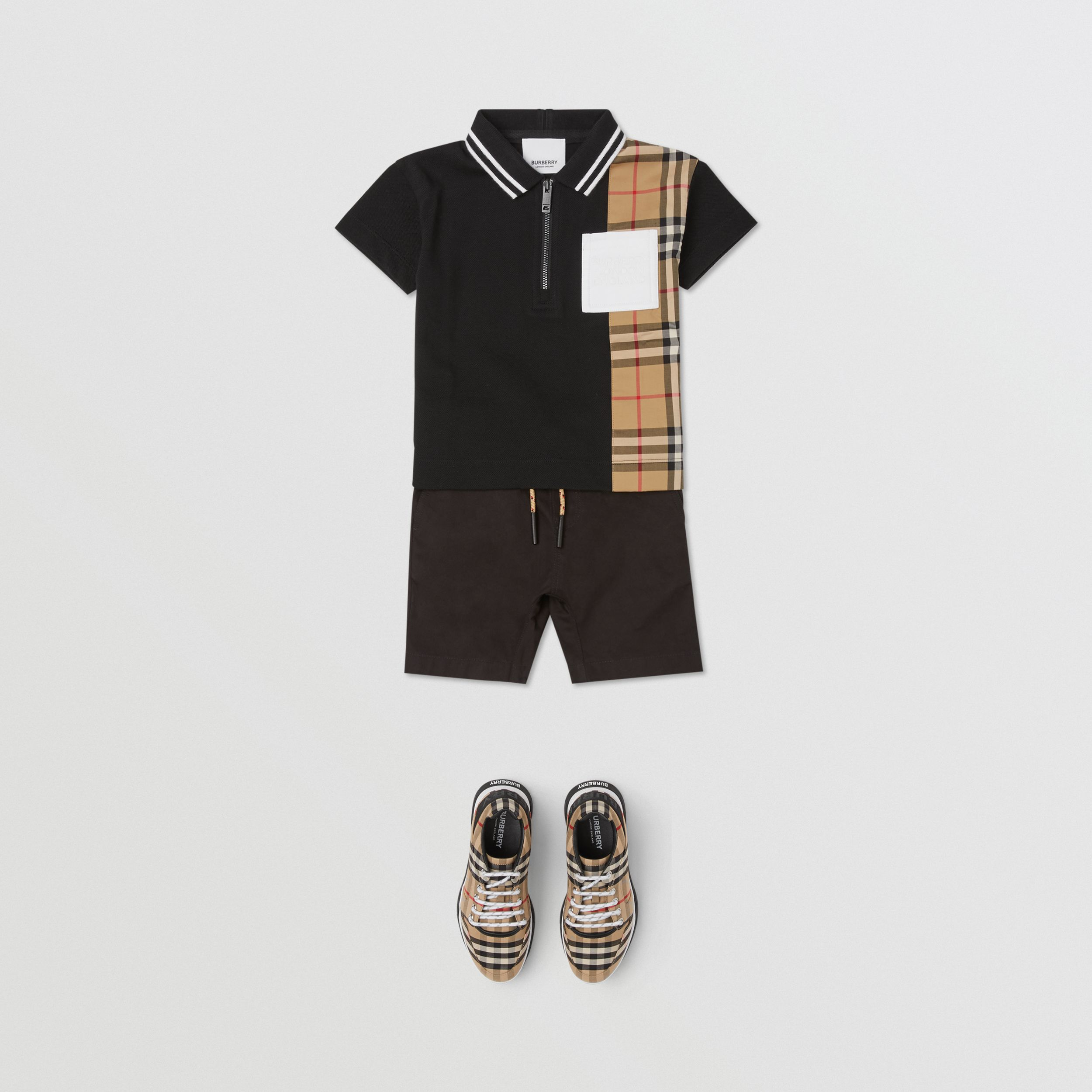 Vintage Check Panel Cotton Zip-front Polo Shirt in Black - Children | Burberry - 3