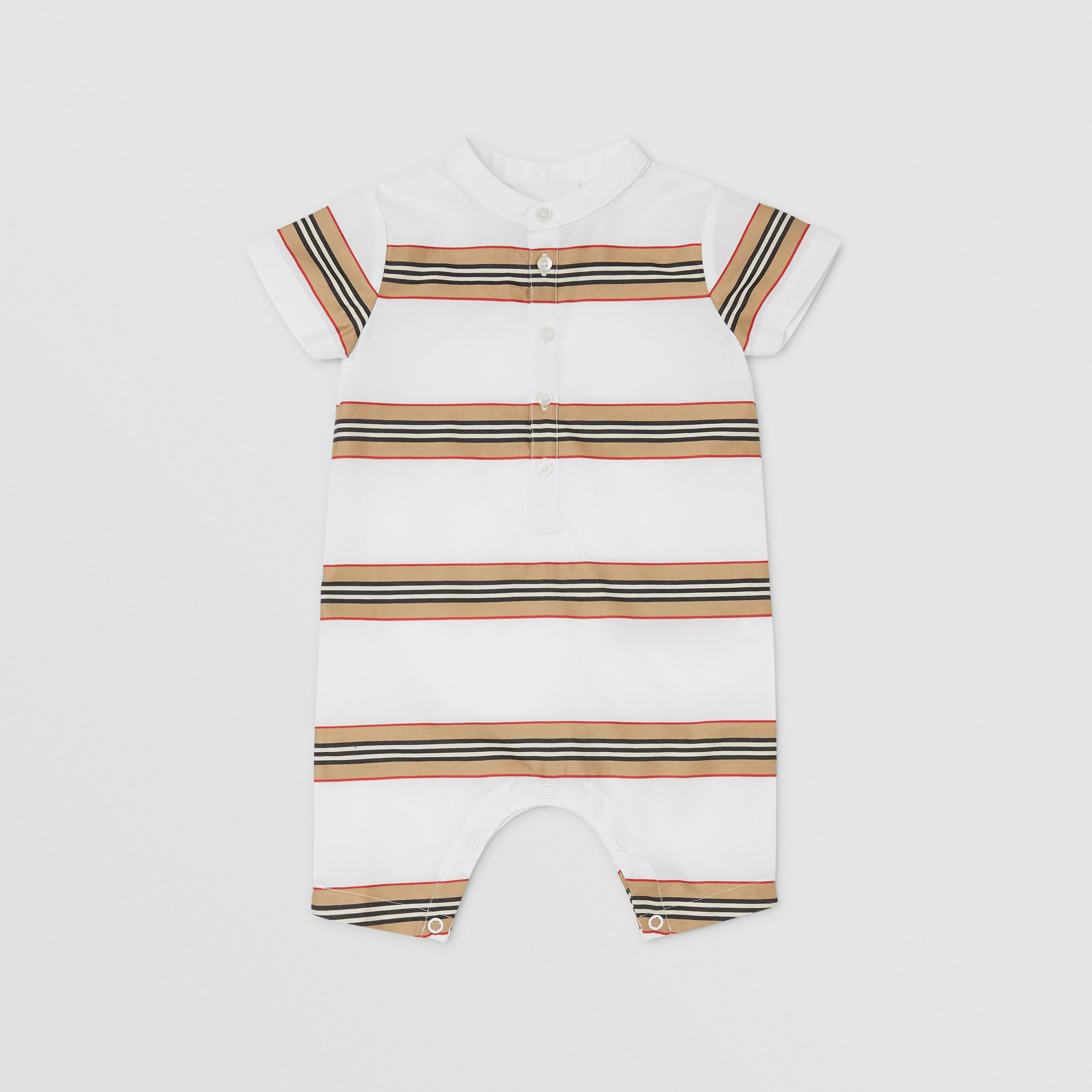 Icon Stripe Cotton Playsuit in White - Children | Burberry - 3