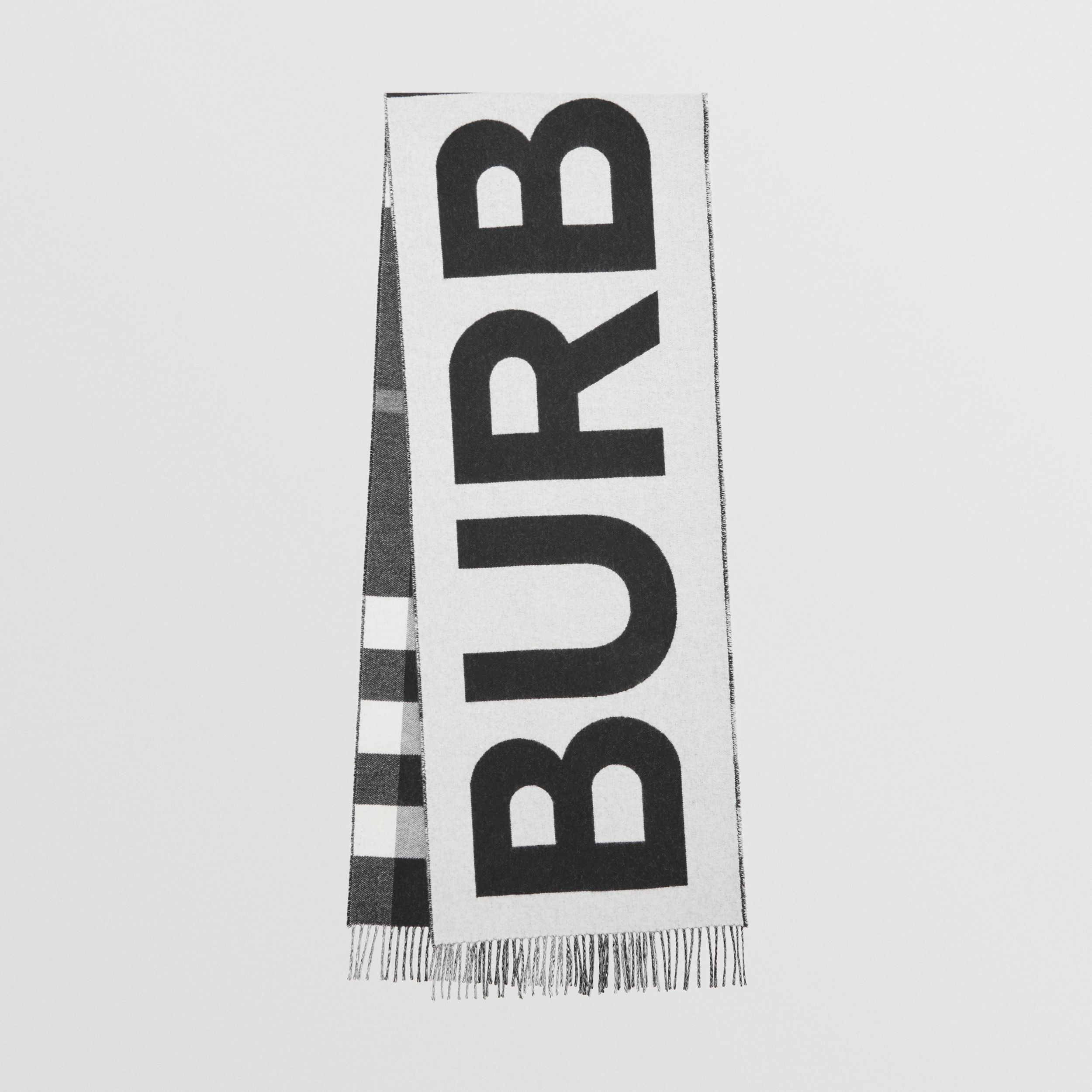 Reversible Check and Logo Cashmere Scarf in Black/white | Burberry - 1