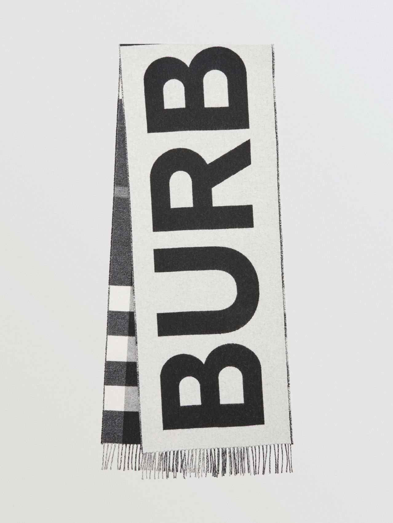 Reversible Check and Logo Cashmere Scarf in Black/white
