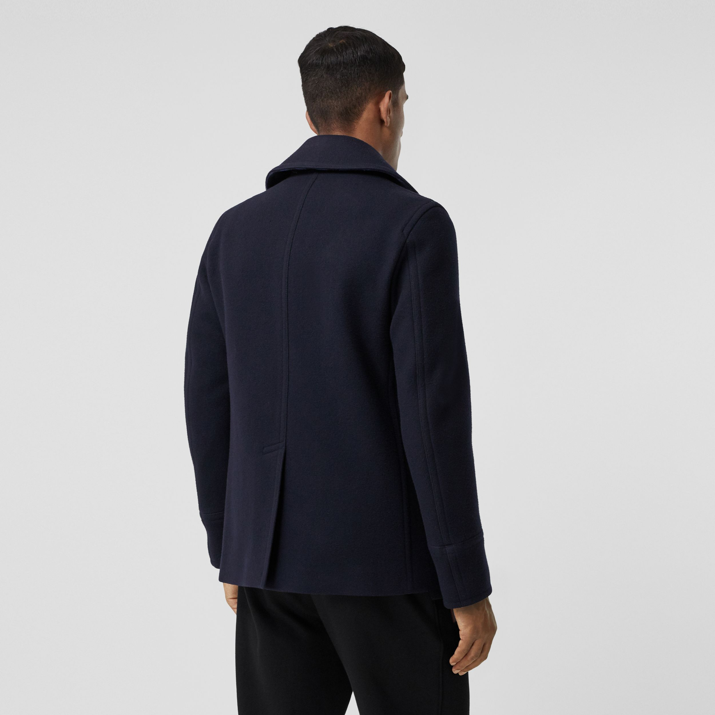 Wool Blend Pea Coat in Navy - Men | Burberry - 3