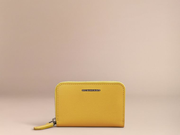 London Leather Ziparound Coin Case in Bright Citrus | Burberry Canada - cell image 1