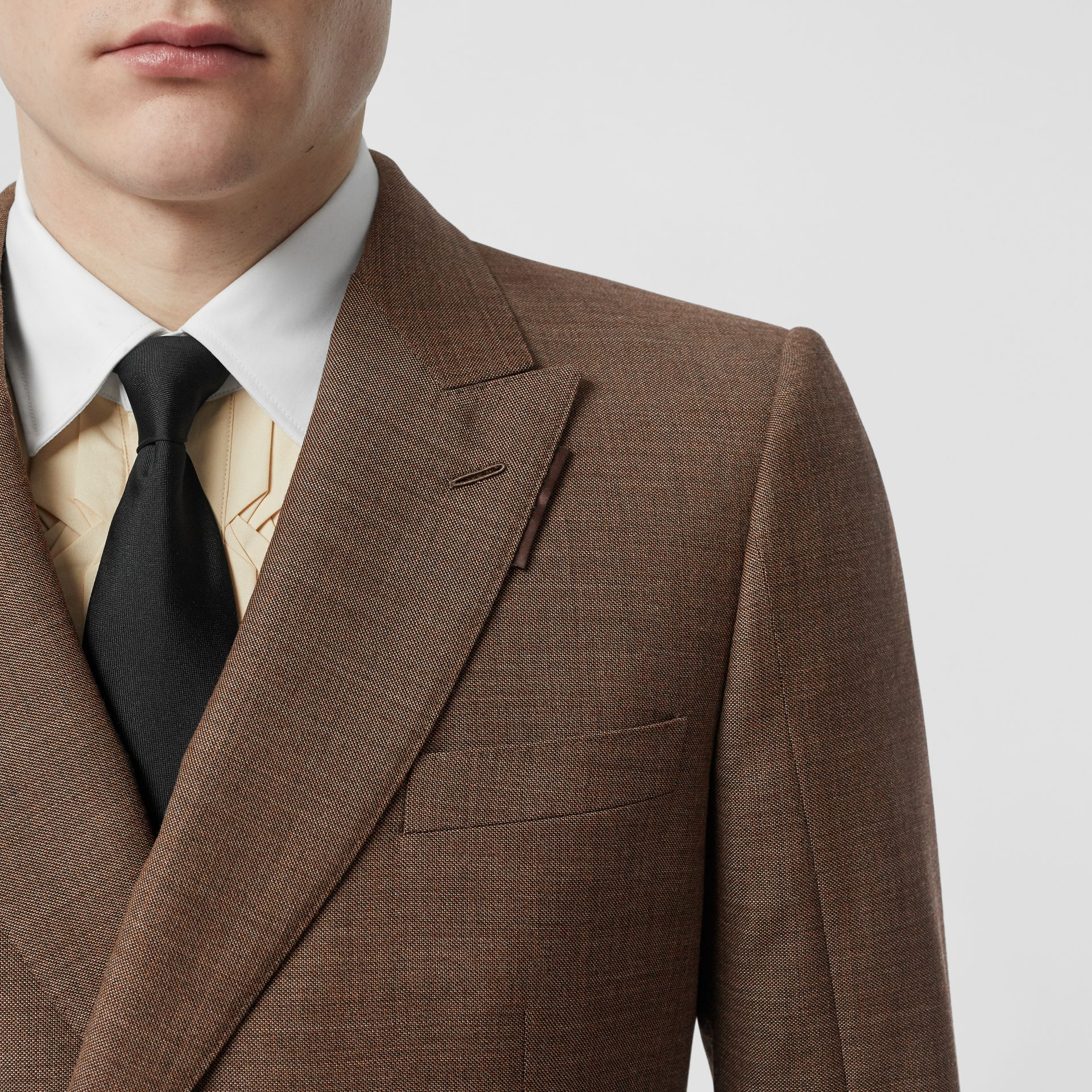English Fit Sharkskin Wool Double-breasted Jacket in Deep Brown - Men | Burberry - gallery image 7