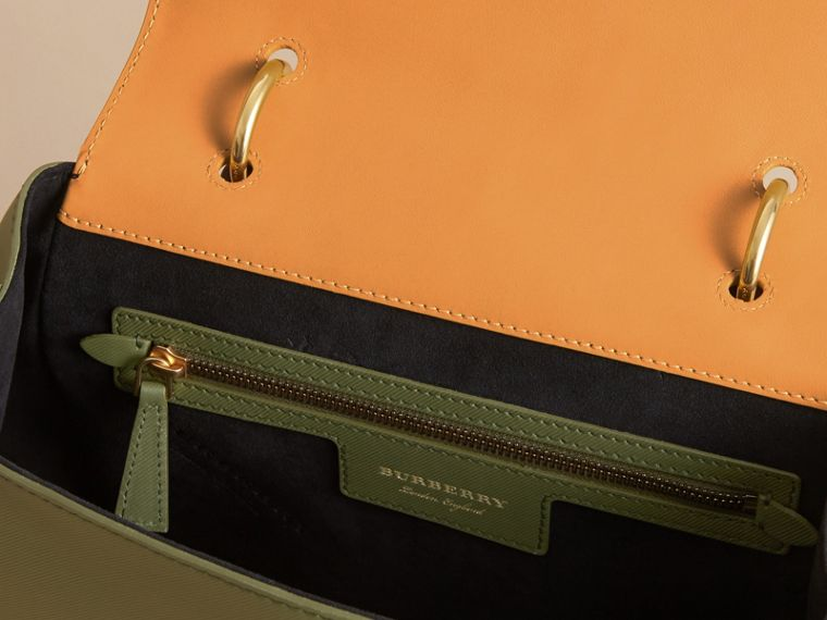 The Medium DK88 Top Handle Bag in Moss Green/ochre Yellow - cell image 4