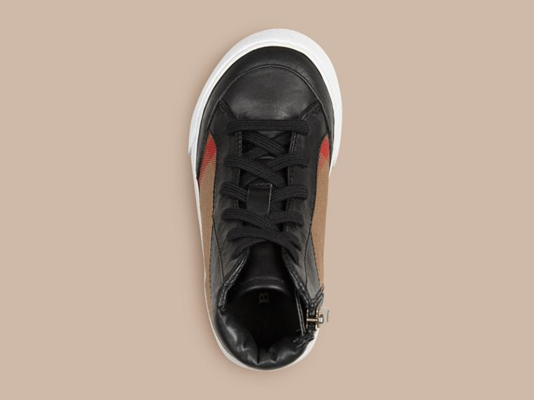 House Check and Leather High Top Trainers | Burberry - cell image 1