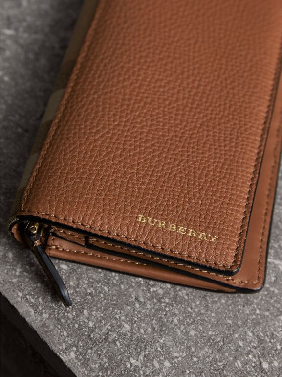 House Check and Grainy Leather Continental Wallet in Chestnut Brown | Burberry - cell image 1