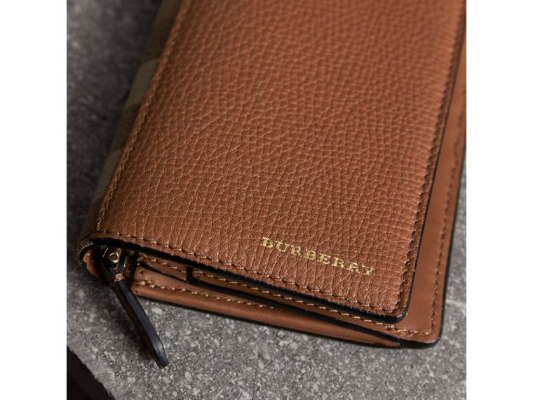 House Check and Grainy Leather Continental Wallet in Chestnut Brown - Men | Burberry - cell image 1