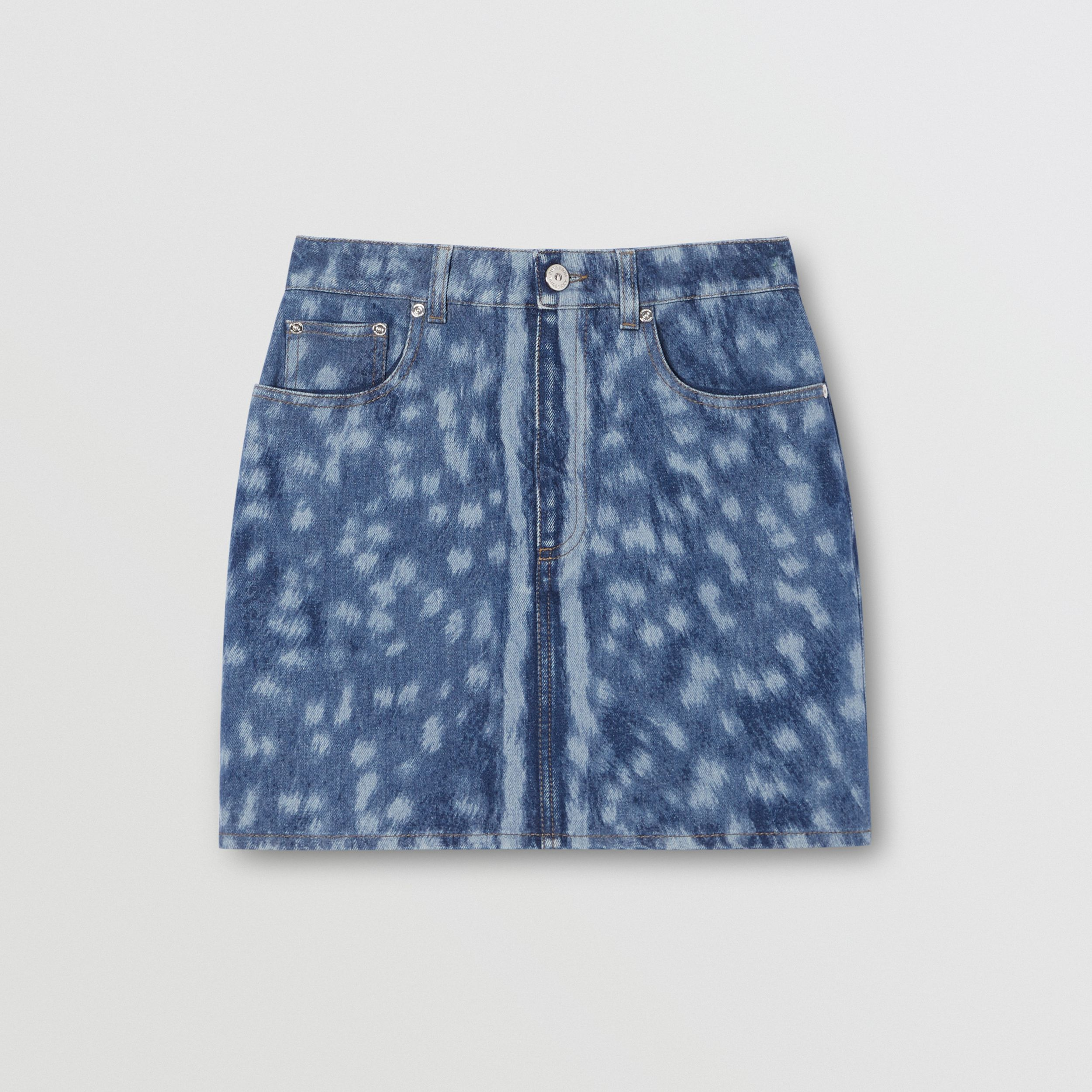 Deer Print Denim Mini Skirt in Mid Indigo - Women | Burberry - 4