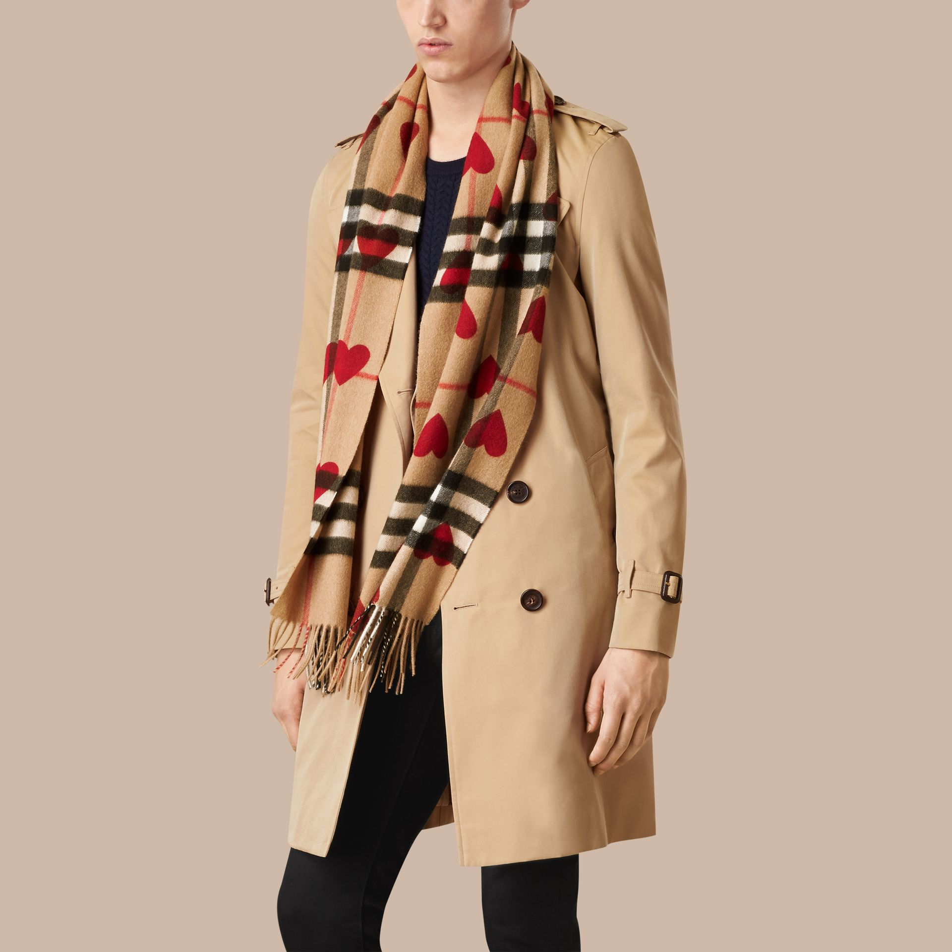 Parade red The Classic Cashmere Scarf in Check and Hearts Parade Red - gallery image 4