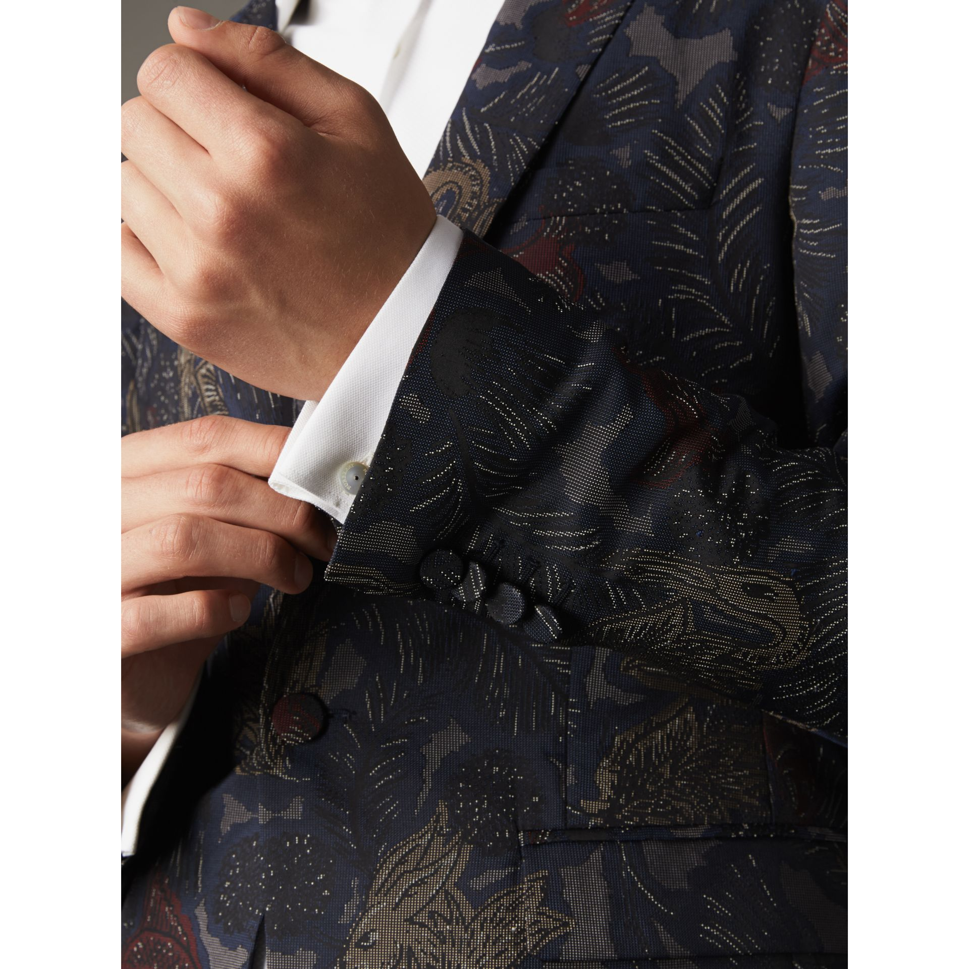 Slim Fit Beasts Technical Silk Jacquard Tailored Jacket in Navy Grey - Men | Burberry - gallery image 5
