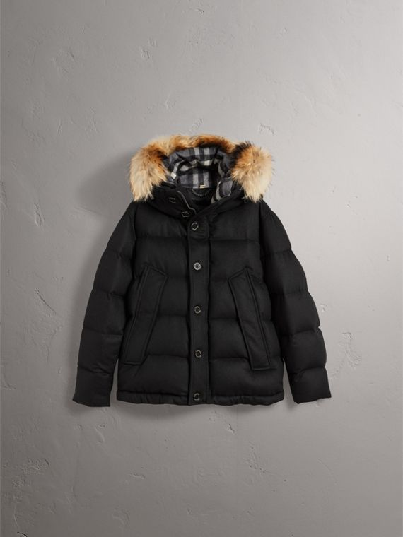 Detachable Fur Trim Cashmere Puffer Jacket in Black - Men | Burberry - cell image 3