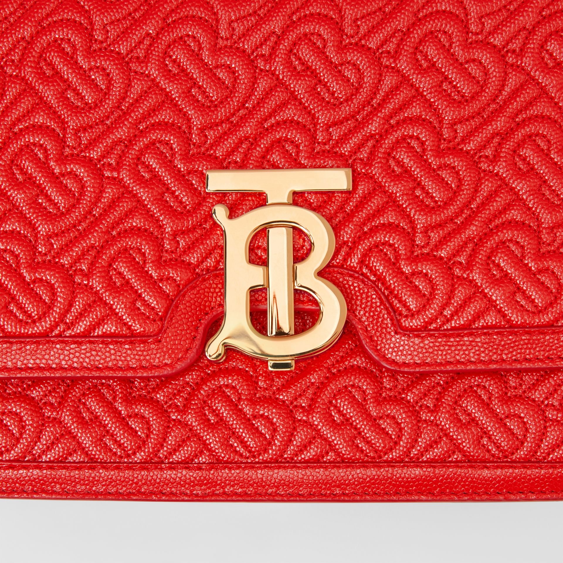 Small Quilted Monogram Leather TB Bag in Bright Red - Women   Burberry - gallery image 1