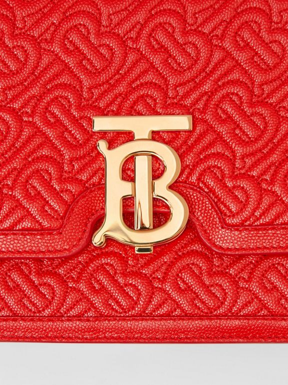 Small Quilted Monogram Leather TB Bag in Bright Red - Women | Burberry United States - cell image 1
